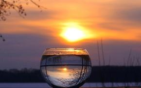 природа, зима, отражение, закат