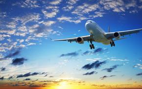 airplane, clouds, sunset, sky, aircraft