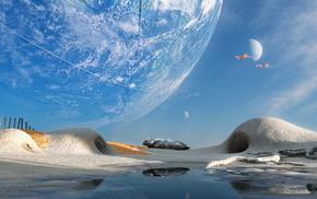 3D, hills, art, planet, ship