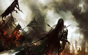 стрелы, воин, оружие, флаги, Арт, сражение