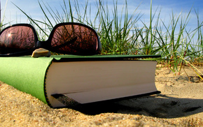 glasses, book, macro, grass, summer