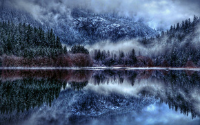 nature, mist, winter, lake, snow