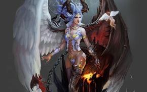horns, wings, angel, art, fantasy