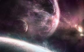 space, nebula, planets
