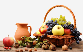 basket, grapes, fruits, apples, delicious