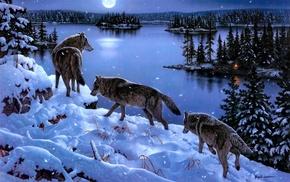 winter, art, lake, animals, trees