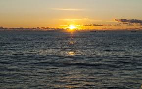 море, закат, тучи, природа, солнце