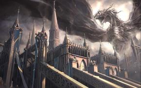 art, wings, fantasy, dragon, castle