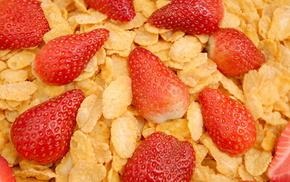 клубника. вкусно, ягоды, полезно, Еда, хлопья, макро