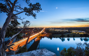 USA, bridge, nature, moon, river