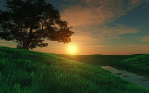 grass, river, 3D, tree, art