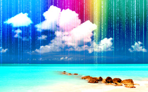 colors, sea, 3D, rest, sand