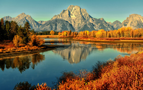 autumn, river, mountain, nature