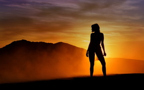 silhouette, girls, color, background, girl