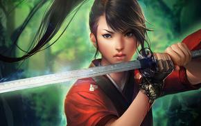 girl, katana, anime, sword, tail