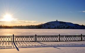 закат, тени, пейзаж, солнце, снег, зима