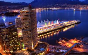 пристань, вечер, Город, города, горы, море