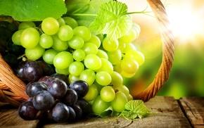 Sun, highlights, grapes, leaves, basket
