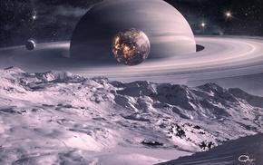 planets, satellite, art, moon, space