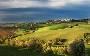 природа, Италия, деревья, синее, поселок, поле