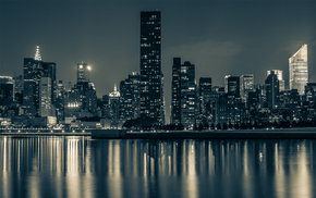 night, cities, city, New York City, water