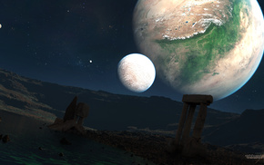 руины, спутники, космос, звезды, Планеты, небо