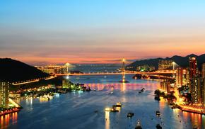 cities, bridge, lights, sunset, city