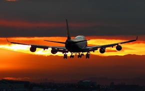 night, airplane, aircraft