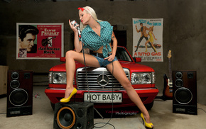 guitar, garage, beauty, beautiful, girls