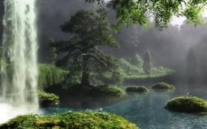 river, art, tree, landscape, waterfall