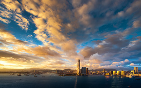 clouds, sky, cities, skyscrapers, evening