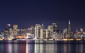 night, river, city, lights, cities
