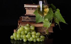 grapes, wine, table, books, delicious