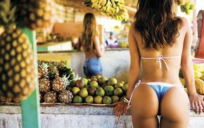 fruit, thong, девушки, landscape, pineapple, market