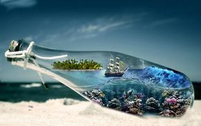 sand, stunner, ocean, bottle, coast