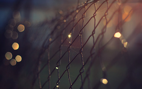 night, macro, fence, lights, bokeh