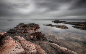 coast, sky, ocean, stones, sea