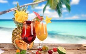 Summer, glasses, coconut, cocktails, food, melon