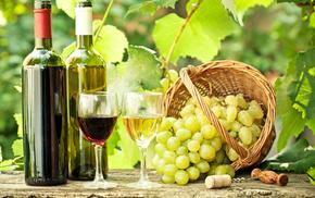 stemware, twigs, grapes, delicious, leaves