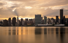 reflection, New York City, city, water, USA