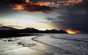 волны, закат, Вечер, скалы, море, природа