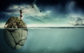 rock, sea, planets, birds, 3D