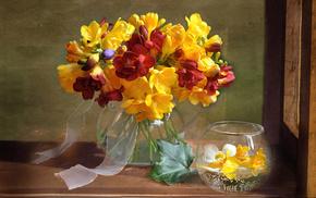 summer, bouquet, vase, flowers
