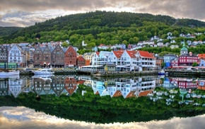 berth, cities, reflection, houses, Norway