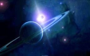 небо, звезда, космос, кольца, Планета