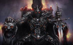 sword, helmet, fantasy, candles