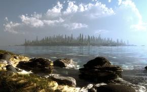 art, stones, 3D, trees, water