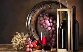 delicious, wineglass, bottle, box, grapes