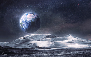 art, view, mountain, space, moon