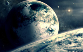 space, clouds, star, planets, atmosphere